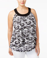 NY Collection Plus Size Printed Chiffon Halter Top