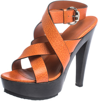 Gucci Orange Leather Cross Strap Platform Ankle Strap Sandals Size 38
