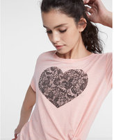 Express one eleven lace heart tee