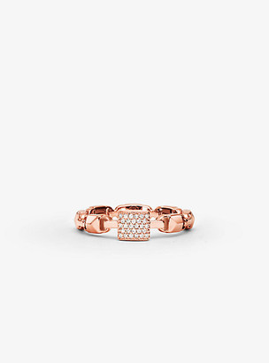 Michael Kors Precious Metal-Plated Sterling Silver Mercer Link Pave Center Ring