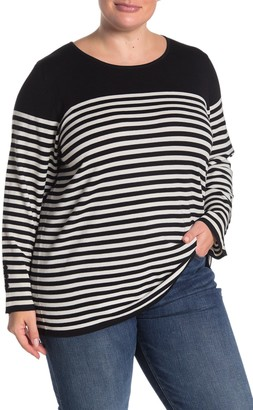 Grace Elements Striped Long Sleeve Pullover (Plus Size)