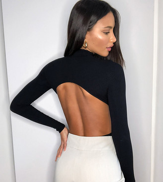 Asos Tall ASOS DESIGN Tall high neck open back bodysuit with long sleeve in rib in black
