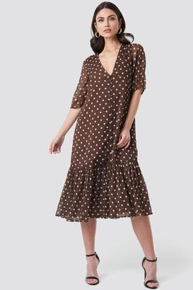 NA-KD V-Neck Puff Sleeve Chiffon Dress