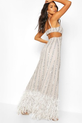 boohoo Occasion Hand Embellished Tassle Hem Maxi Dress