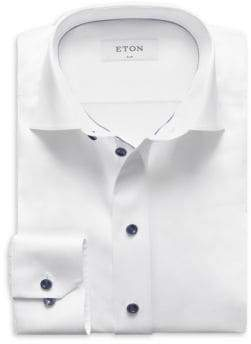 Eton Slim Fit Twill with Navy Details Dress Shirt