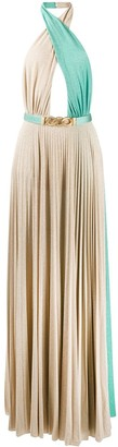 Elisabetta Franchi Pleated Open Back Dress