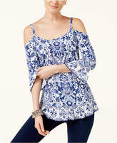 INC International Concepts Mixed-Print Cold-Shoulder Top, Created for Macy's