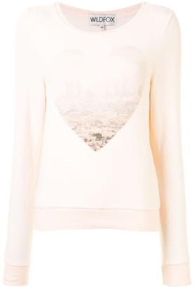 Wildfox Couture Heart Print Long-Sleeved Top