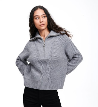 Naadam Wool Cashmere Cable Knit Quarter Zip Sweater