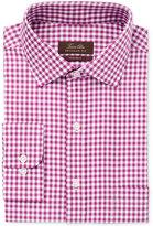 Tasso Elba Men's Classic/Regular Fit Non-Iron Mulberry Herringbone Gingham Dress Shirt, Only at Macy's