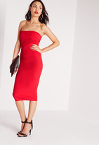 Missguided Layered Bandeau Midi Dress Red