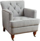 One Kings Lane Jeremy Tufted Club Chair, Gray Linen
