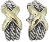 David Yurman 925 Sterling Silver & 14K Yellow Gold X Semi Hoop Earrings