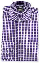 Neiman Marcus Trim-Fit Regular-Finish Grid-Print Dress Shirt, Purple