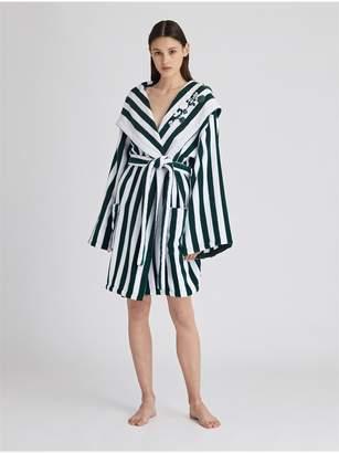 Oscar de la Renta Striped Cotton Terry Hooded Robe