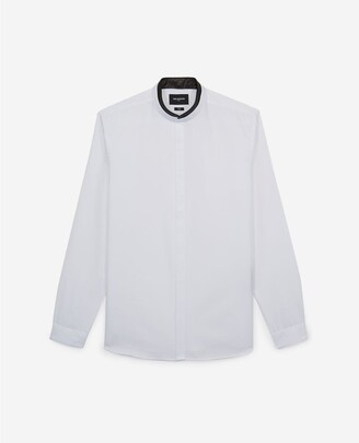 The Kooples Shirt with leather officer collar, removable