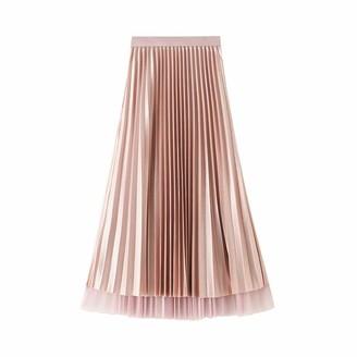 Generic Women's Premium Metallic Shiny Shimmer Accordion High Waist Pleated Mid Length Skirt Women's A-Line Swing Dress (Black One Size)