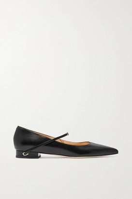 Jennifer Chamandi Lorenzo Leather Point-toe Flats - Black