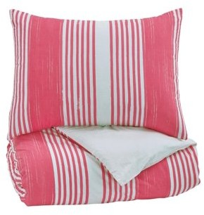 Signature Design by Ashley Taries Pink Twin Duvet Cover Set