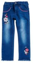 Flapdoodles Girl's Embroidered Floral Jeans