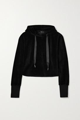 Heroine Sport Cropped Cotton-blend Velour Hoodie