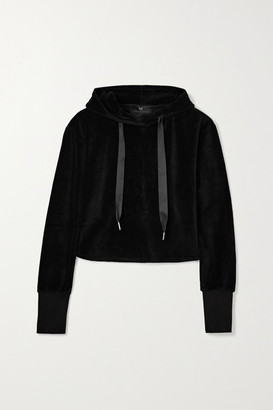 Heroine Sport - Cropped Cotton-blend Velour Hoodie - Black