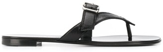 Giuseppe Zanotti buckled strap leather flip flop sandals