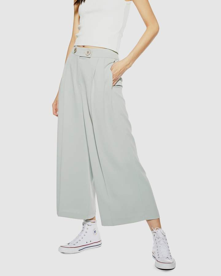 Topshop Cropped Wide Leg Button Trousers