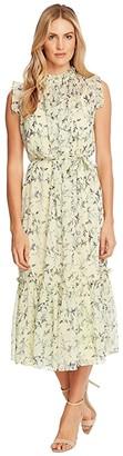 CeCe Sleeveless Wisteria Vines Ruffled Midi Dress (Lemonade) Women's Dress