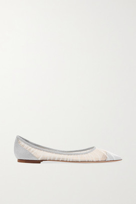 Jimmy Choo Love Glittered Tulle And Canvas Point-toe Flats - Ivory