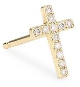 Sydney Evan Diamond & 14K Yellow Gold Cross Single Stud Earring