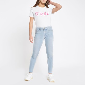 River Island Womens Petite light Blue Molly mid rise jeggings