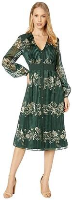 Ted Baker Delyla Meadowsweet Long Sleeve Midi Dress (Dark Green) Women's Clothing