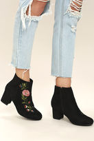Bamboo Amanda Black Suede Embroidered Ankle Booties