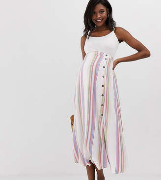 Asos DESIGN Maternity button front maxi skirt in exclusive stripe print