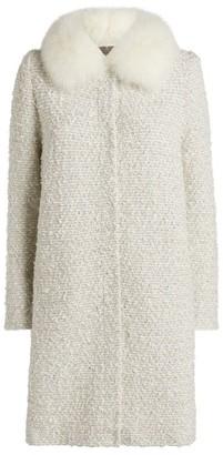 D-Exterior D.Exterior Fox Fur-Trim Tweed Coat