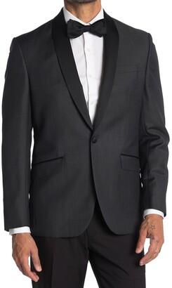 Ted Baker Josh Gray Sharkskin One Button Tuxedo Jacket