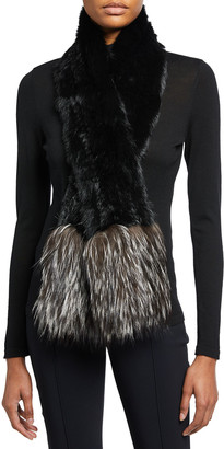 Adrienne Landau Rabbit Fur Scarf with Fox Fur Trim