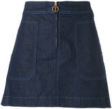 Tory Burch Elise denim skirt - women - Cotton/Polyester/Spandex/Elastane/Viscose - 0