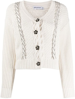 Self-Portrait Crystal-Embellished Cable Knit Cardigan