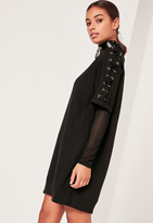 Missguided Lace Up Sleeve Sweater Dress Black