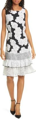 DYVNA Chacha Ruffle Floral Silk Dress