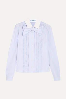Prada Bow-embellished Ruffled Striped Cotton Shirt - Sky blue