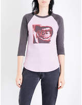 Obey Ladies Orchid Round Screamer Cotton-Jersey T-Shirt