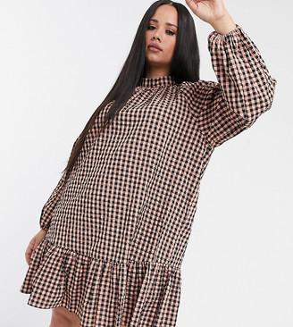 ASOS DESIGN Curve gingham mini smock dress