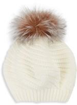 Surell Knit Fox Fur Pom-Pom Beanie