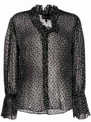 Emporio Armani sheer polka dot print blouse