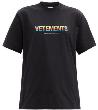 Vetements Think Differently-print Cotton-jersey T-shirt - Black