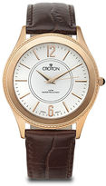 Croton Mens Croc-Look Brown Leather Strap Watch