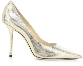 Jimmy Choo Love Lizard-Embossed Metallic Leather Pumps